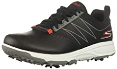 The Skechers boys Blaster golf shoe features a synthetic upper with ultra flight foam for the most comfort when you are out on the course. Replaceable soft spikes provide plenty of traction while the Skechers H2GO Shield provides waterproof p...