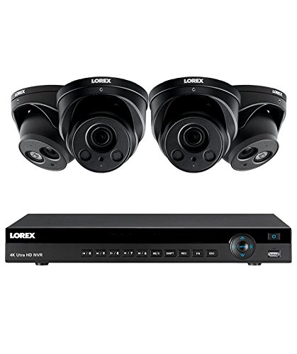 (Lorex 8 channel NR9082 4K home security system with 2 8MP 4K LNE8974BW Varifocal Motorized Audio Dome Cameras and 2 LNE8950ABW Audio Turret Cameras - 4KHDIP822NW)