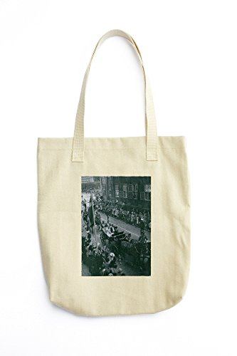 Henrik, Prince Consort of Denmark and Margrethe II of Denmark sitting in royal horse cart and waving to people. printed Tote bag price