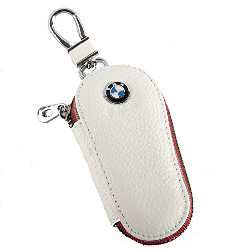 Key chain Bag white Lychee rind pattern Genuine Leather Ring Holder Case Car Auto Coin Universal Remote Smart Key cover Fob Alarm Security Zipper keychain Wallet Bag (BMW) (Cover Brake Link)