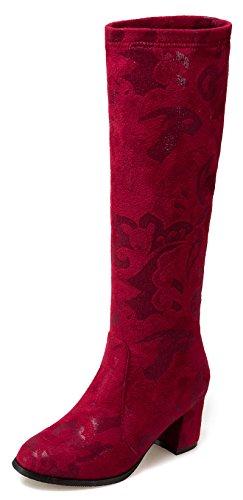 Aisun Donna Elegante Dressy Punta Tonda Da Sposa Metà Tacco Grosso Tira Su Stivali Alti Al Ginocchio Rosso