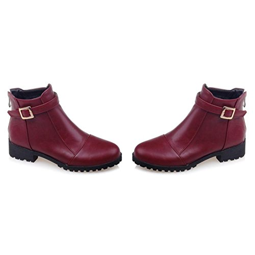 Leatherette Boots Ankle amp; Women's Bootie Heel Boots Boots Shoes Round Toe Office Fashion Wedding Booties Chunky Winter Spring Zipper burgundy AIURBAG For REqd8wx68