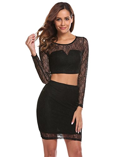 Zeagoo Women's Party Dress Black Lace Floral Long Sleeve Crop Top+Fitted Skirt