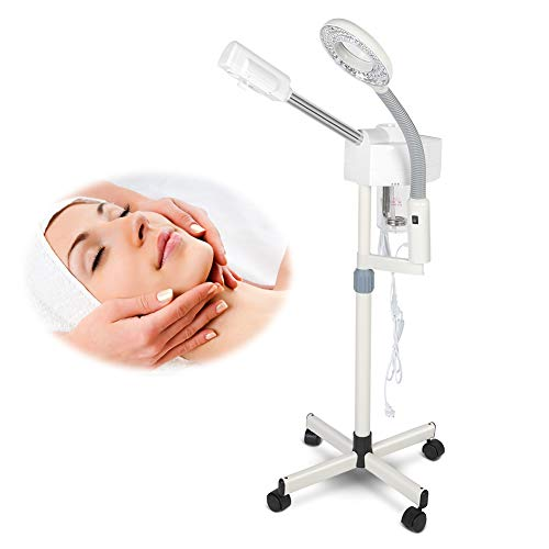 Cocoarm 2 in 1 Facial Steamer with 5X Magnifying Lamp,Multifunctional LED Light Magnifier Facial Steamer Spa Salon for Skin Care Clean
