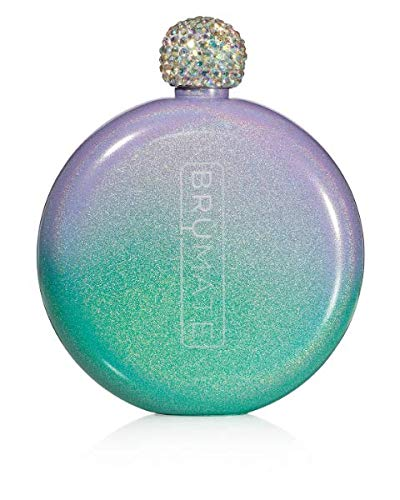 Brümate Holographic Glitter Spirit Flask - 5oz Stainless Steel Pocket & Purse Liquor Flask with Rhinestone Cap - Cute, Girly & Discreet for Drinking - Perfect Gift for Women (Glitter Mermaid)