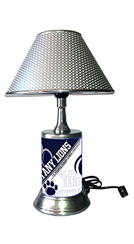 - Rico Table Lamp with Chrome Colored Shade, Penn State Nittany Lions Plate Rolled in on The lamp Base