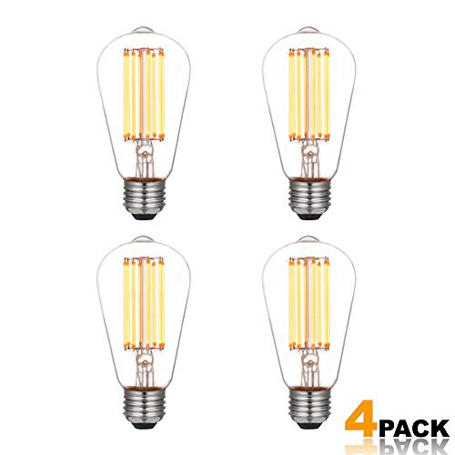 Modvera Lighting LED Edison Light Bulb 8 Watt - 75W Equivalent Omni Directional Squirrel Cage Filament Clear Glass - Color Temperature Warm White ST64 E26 Base Dimmable Vintage Lamp UL Listed - 4 Pack