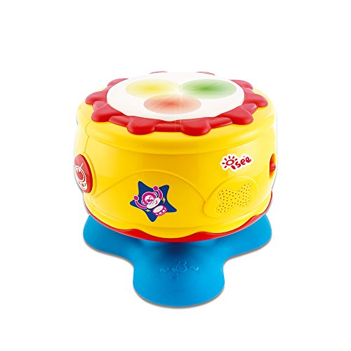 Infant Baby Bongo Drum Flash Beat - Rhythm Band Instruments,Take Along Tunes Baby Musical Toys with Lights Sounds for toddler (Standard Vtec)