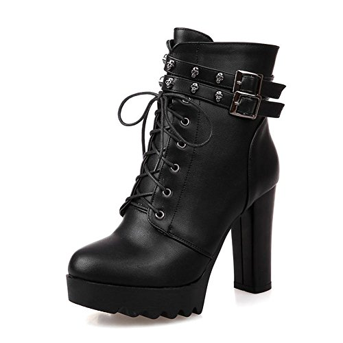 L@YC Women's Shoes Leatherette Fall Winter Boots Chunky Heel Round Toe Mid-Calf Buckle For Casual Dress Black