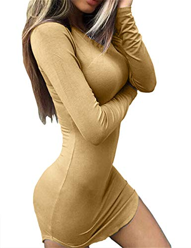 Long Khaki Women's Tight Dresses Hem Sexy Shirts Haola T Bodycon Mini Irregular Sleeve wqfIwO