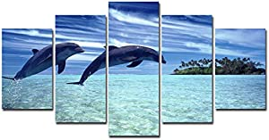 Win A Free Lingula Art 5 Pieces Wall Art Painting Seascape Sea Dolphins…