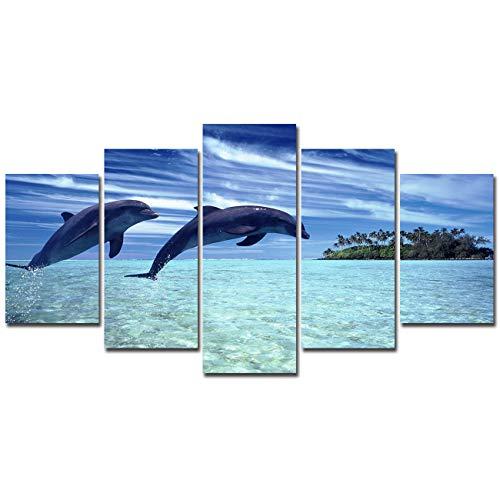 Dolphin Art - Lingula Art 5 Pieces Wall Art Painting Seascape Sea Dolphins Blue Sky Island Prints On Canvas Animals Poster Modern Decoration Wall Pictures for Living Room (20x30cmx2pcs 20x40cmx2pcs 20x50cmx1pcs)