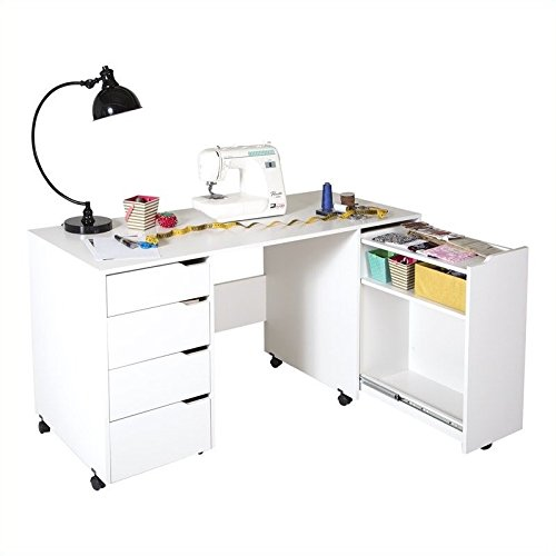 Used, South Shore Crea Craft Table on Wheels with Sliding for sale  Delivered anywhere in USA