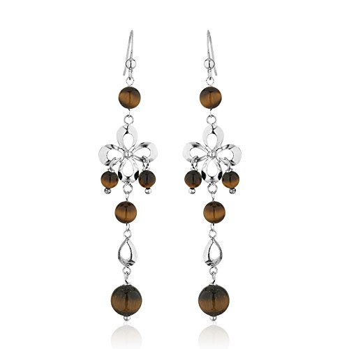 925 Sterling Silver Infinity Flower Tiger Eye Gemstone Spheres Long Dangle Earrings (Eye Of The Tiger Dance Costume)