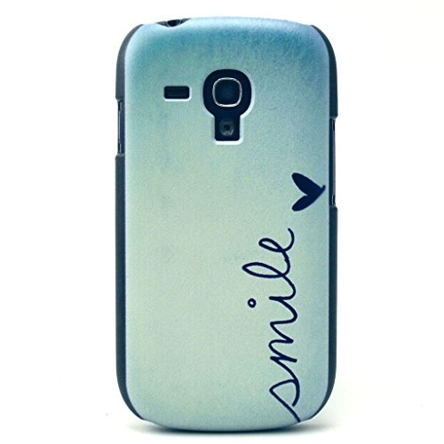 for S3 Mini Case,Galaxy S3 Mini I8190 Case,Danhua Funny Painting Series Picture [Smile Quotes Heart Design Pattern] Back Frame Hard Plastic Shell Case Cover Skin for Samsung Galaxy S3 Mini I8190 (Not for Samsung Galaxy S3 i9300)