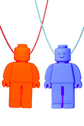 Chew Necklace (Block Buddies) by GNAWRISHING - 2-Pack (Red and Blue with Colored Cords) - Perfect for Autistic, ADHD, SPD, Oral Motor Children, Kids, Boys, and Girls (Tough, (Childrens Chew)