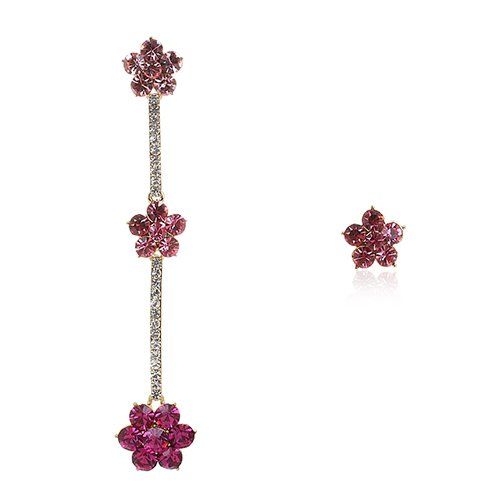 Celebrity Earrings; Large drop and stud style Swarovski crystals earring. Great Gift for Her. Colour : Clear on Rhodium plating; Party Pieces for the season; Choose colour option in