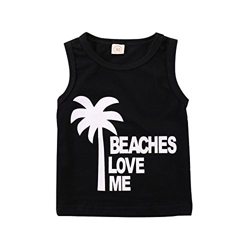 Infant Baby Boys Summer Casual Clothes Set Beaches Love Me Vest Tops +Shorts (Black, 12-18 Months) by Younger Tree (Image #2)