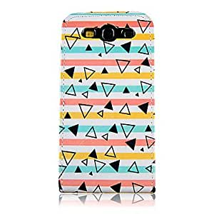 hello Colorful Line and Triangle Pattern PU Leather Full Body Case for Samsung Galaxy S3 I9300