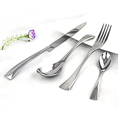 Kaya Delicate Stainless Steel Flatware Cutlery Set with Mirror Finish Including Fork Spoons Knife Four Piece Tableware Dinner Set (Silver)