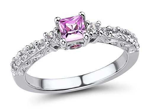 Lab Created Pink Sapphire Ring with Lab Created White Sapphire Accents in Sterling Silver - Ring Size 6