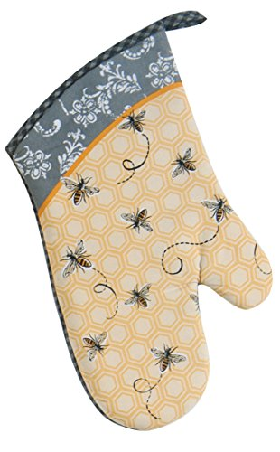 Cotton Oven Mitt, Queen Bee is a useful aid in the kitchen for any bee gift occasion, a honey bee gift to decorate the home