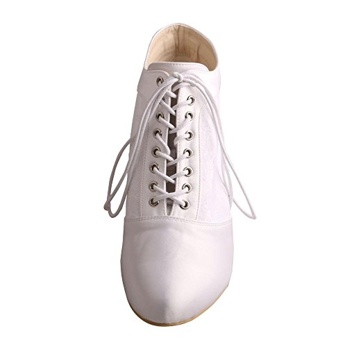 MW188 Short Bridal Lace White Boots Almond Lace Pumps Toe Satin Shoes Wedopus Heel up Women's Wedding T0nqTd