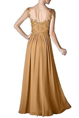mit Damen Langes Spitze Chiffon Abendkleider Brautmutterkleider Applikation Blau La Gold Ballkleider Braut Marie OqwFzXzf