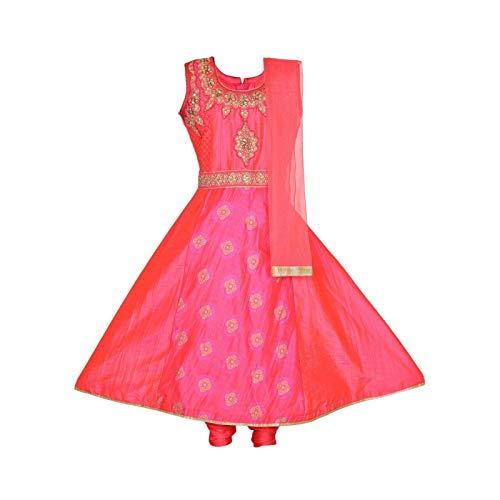 Ashwini Girls Embroidery Salwar Suit (9-10 Years, Pink)