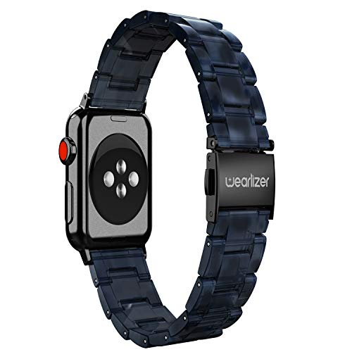 Plastic Link Band - Wearlizer Navy Lightweight Resin Compatible with Apple Watch Band 42mm 44mm iWatch Womens Mens Sport Replacement Strap Leisure Wristband Bracelet with Black Metal Steel Clasp Series 4 3 2 1