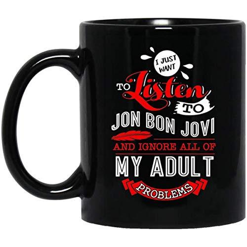 CASURI - Listen to Jon Bon Jovi mug MUG 15oz Gift for Men or Women - Gift Idea Christmas, Birthday, Valentines -