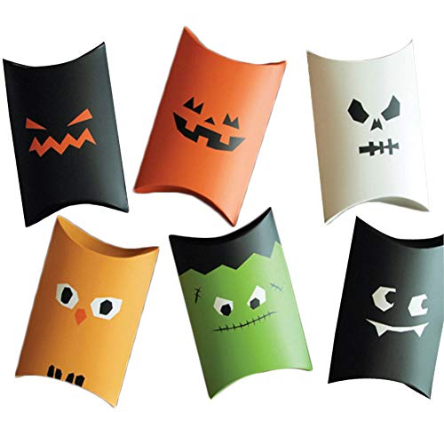 Color Zebra Funny Halloween cartons, Candy Pillow Boxes, Creative Packaging Gift Boxes Halloween Party Favor Boxes, Treat Paper Bags, Party Gift Favor Cookie Boxes, Kids Birthday Decorations (12pcs)