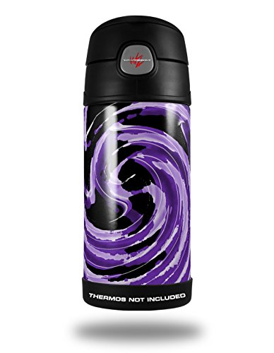 Skin Decal Wrap For Thermos Funtainer 12Oz Bottle Alecias Swirl 02 Purple  Bottle Not Included  By Wraptorskinz