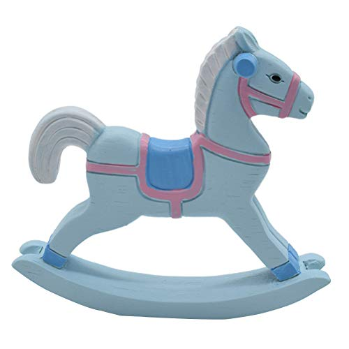 Vosarea Cake Topper Wooden Horse Resin Figurine Horse Decoration for Cake (Blue)