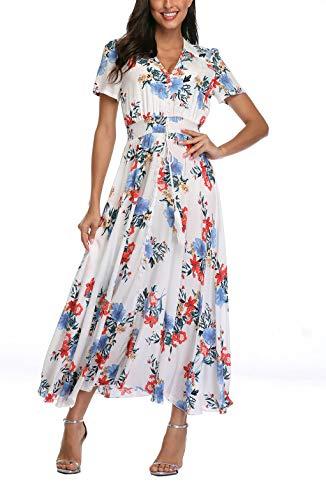 Womens Button Front Dress - V fashion Women's Floral Maxi Dress Button Up Split Summer Boho Long Beach Dress