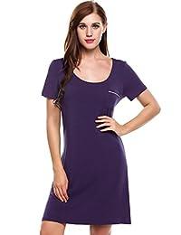 Ekouaer Sleep Shirt Womens Short Sleeve Night Gown Nightshirts (S-XL)