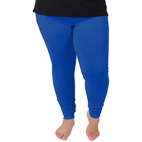Stretch is Comfort Women's Cotton Plus Size Leggings Royal Blue 3XL