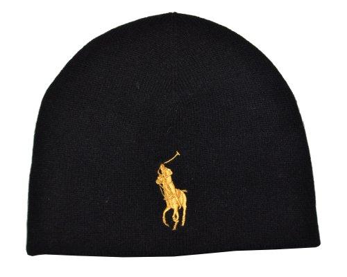 Polo Ralph Lauren Men Big Pony Wool Watch Cap (no size, Black/Golden yellow)