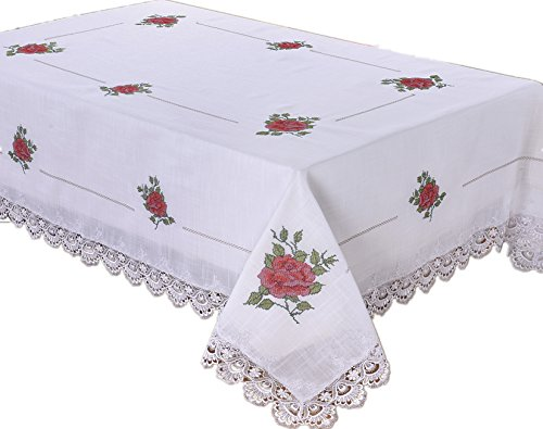 Just-Enjoy Lace Embroidered Rose-Lace Design Tablecloth Table Runners (Red Rose, 36''x36'') (36' Lace Runner)