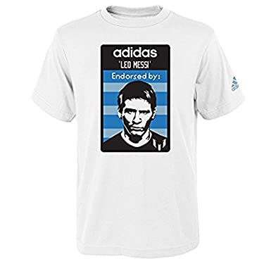 c6df82f03d6 Amazon.com  adidas Lionel Messi Youth Player Endorsement White Performance  T-Shirt  Clothing