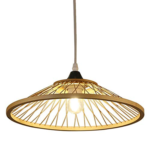 (Chuen Lung Tropical Natural Bamboo Chandelier DIY Wicker Rattan Lamp Shades Weave Hanging Light D13.8INCH (Color : Natural, Size : Diameter 35CM))
