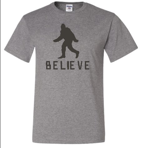 Adult Oxford Bigfoot Believe Sasquatch T-Shirt - XL