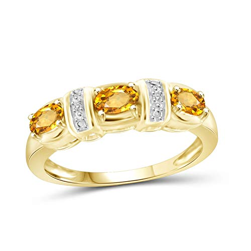 (Jewelexcess 0.65 Carat T.G.W. Citrine and Accent White Diamond 14k Gold Over Silver Ring)