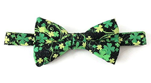 Shamrock Bow Tie St. Patrick's Day Black & Green with Iridescent Sparkle ()