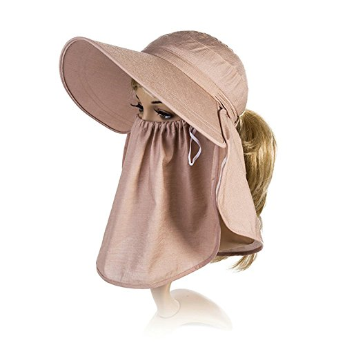 Siggi Womens Wide Brim Summer Sun Flap Cap Hat Neck Cover Detachable Face  Mask UPF 50+ Coffee - Buy Online in UAE.  37406a4aefe5