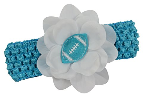 Baby Embroidered Felt Football Team Flower Headband Fits Newborns to Toddlers (Turquoise)
