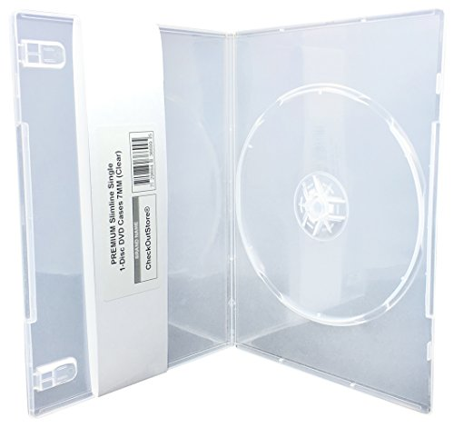 CheckOutStore (50) Premium Slimline Single 1-Disc DVD Cases 7mm (Clear)