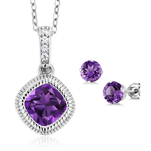 Gem Stone King 2.73 Ct Purple Amethyst 925 Sterling Silver Pendant Studs Set with Chain