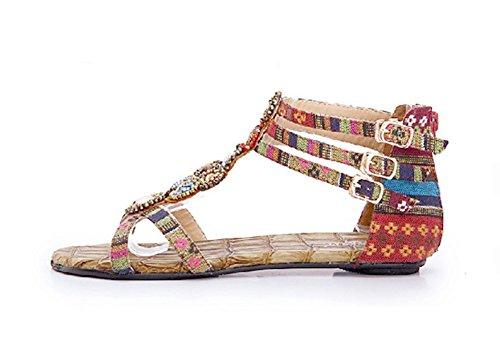 Mujer Sandalias Planas Bohemia Adorno De Rhinestone Romanas Zapatos de Hebilla de clip del dedo del pie Vino rojo
