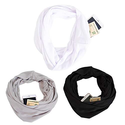 Hidden Zipper Pocketed Travel Scarf- Women Lightweight Infinity Scarf Wrap 3 pack